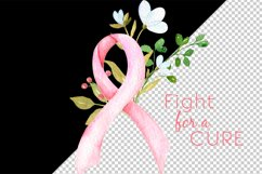 Breast cancer sublimation design. Pink ribbon with flowers Product Image 2