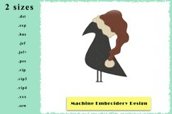 Crow with Santa Hat - Machine Embroidery Design - 2 sizes Product Image 1