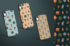 Seamless vector pattern with flowers, leaves and kingfisher Product Image 5