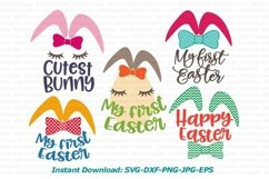 Bunny Ears eggs face bundle svg dxf toddler oneness cut file Product Image 4