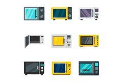 Microwave icon set, flat style Product Image 1