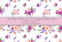 Flowers & Hummingbirds Seamless Patterns Product Image 5