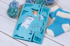 Baby Shower Invitation with a Stork, Welcome our Little Boy Product Image 3