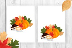 Autumn composition with pumpkin, leaves, coffee, cake Product Image 3