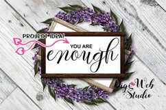 Flat Lay Wood Signs Mockup - Rectangle Wood Frames on Wreath Product Image 2