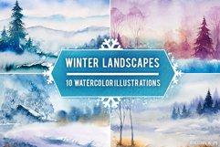 Winter Landscapes set#3. Watercolor. Product Image 1