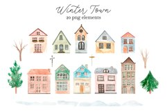 Winter Town. Watercolor Collection. Merry Christmas Product Image 2