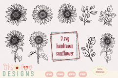 SVG sunflower handrawn   cricut silhouette craft  clipart Product Image 2