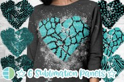 Animal Print Black and Teal Glitter Heart Distressed Heart Product Image 1