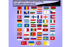 Europe countries / Europe country Flags / country flag / 300DPI / Vector flags / flag clipart and silhouette / printable flag/ digital flag Product Image 2