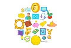 Finance icons set, cartoon style Product Image 1