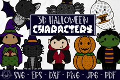 3D Halloween Characters, Layered Halloween SVG, DXF, Cat Product Image 1