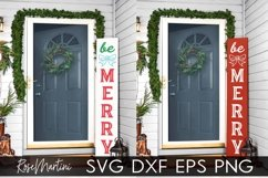 Christmas Porch Sign SVG PNG Be Merry Cut File Door Sign Product Image 2