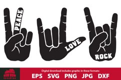 Peace Love Rock Hand Gesture SVG & Clipart Bundle Product Image 1
