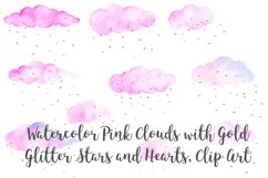 Watercolor Pink Clouds with Gold Stars and Hearts Clip Art Product Image 5