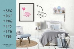 Flower Elephant with Heart Balloon - SVG DXF PNG EPS JPG PDF Product Image 2