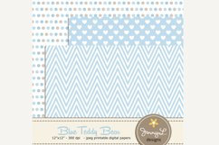 Boy Teddy Bear Digital papers and Clipart SET Product Image 5