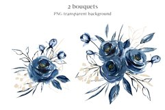 Alphabet, letters and numbers with watercolor blue flowers Product Image 4