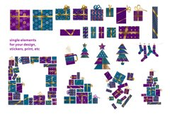 Christmas postcards and wrap digital paper vector bundle Product Image 3