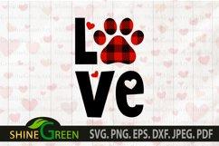 Dog svg Love Paw Buffalo Plaid for Dog/Cat Valentines SVG Product Image 2