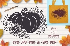 Floral Pumpkin svg, Halloween Floral Decor, Fall svg Product Image 1