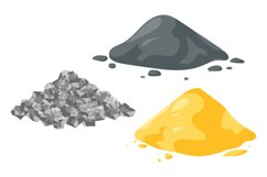 Set of vector illustrations sand, gravel and cement piles. Product Image 1