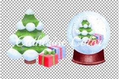 Christmas tree. Christmas gift box. Christmas snow globe Product Image 3