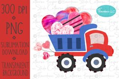 Valentines Day, Red and Blue Dump Truck, Boy, Watercolor PNG Product Image 1