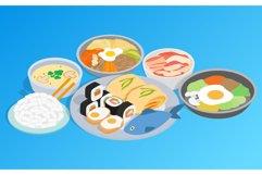 Korean food clip art, isometric style Product Image 1