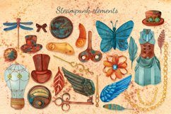 Steampunk watercolor clipart set Product Image 3