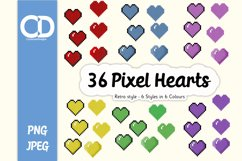 36 Retro style Pixel hearts Product Image 1