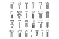 Screw-bolt industrial icons set, outline style Product Image 1