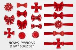 Bows, ribbons and gift boxes set. Product Image 1