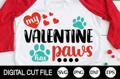 Valentines Day Svg, My Valentine Has Paws Svg, Dog Paw, Cat Product Image 3