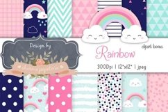 Cute Rainbow Digital Paper Baby Shower Girl Product Image 1
