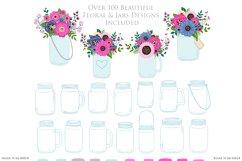 Pink and Navy Mason Jar Wedding Clipart Product Image 4