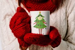 Watercolor Christmas elf with a Christmas tree Product Image 2