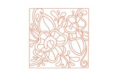Redwork Rose Quilting Set of 4 Machine Embroidery Product Image 2