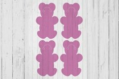 Teddy bear Keyring display card template svg dxf png ai file Product Image 1