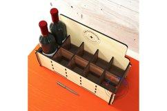 Wine bottles display box. Gift box. Glowforge ready vectors Product Image 5