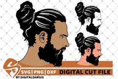 3x Man with Hair Bun svg, Face man svg, Hipster, Beard Man Product Image 1