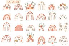 Pink Floral Rainbow Set, Boho Clipart, Vector EPS PNG Product Image 3