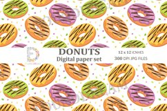 Donuts Digital Papers  12 x 12 inches 300DPI JPG files Product Image 3