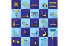 Lifting machine icons set, flat style Product Image 1