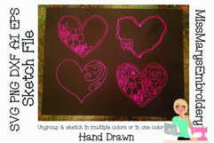 Sketch Hearts | Flower Hearts| Foil Quill |Single Line Product Image 1