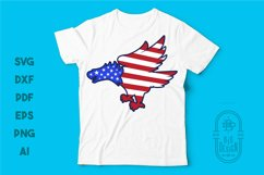 Bald Eagle Silhouette and USA Flag - 4th of July SVG File Product Image 2