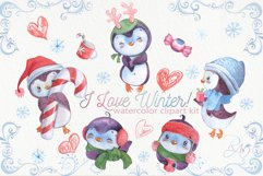 Cute watercolor Christmas penguins clipart Product Image 1