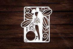 Papercut Wedding Couple with Butterfly Wings, Invitation Art Product Image 2
