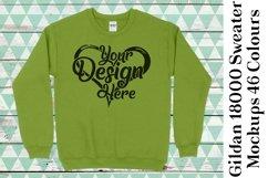 Gildan 18000 Mockup Sweater Mock Up Black White Grey 967 Product Image 4