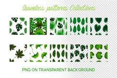 Hand drawn tropical leaves seamless pattern set Product Image 4